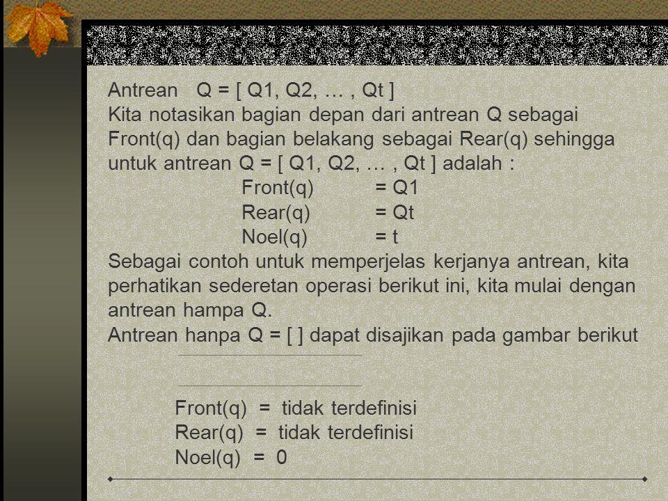 Antrean Q = [ Q1, Q2, … , Qt ] Kita notasikan bagian depan dari antrean Q sebagai. Front(q) dan bagian belakang sebagai Rear(q) sehingga.
